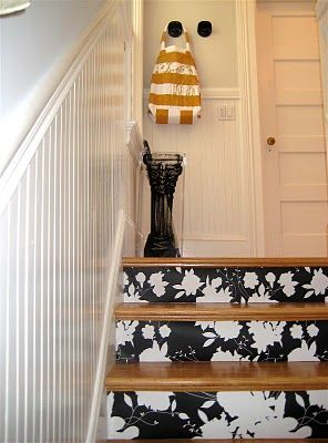 stairs decked out with colored tile. Fun idea for stairs to bonus room/child's play room