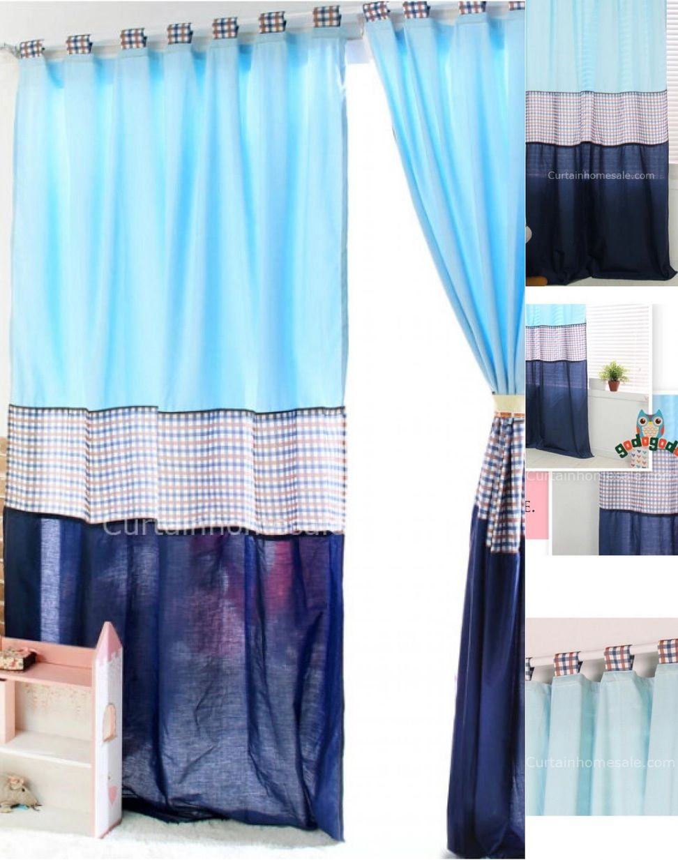 Baby Blue Nursery Curtains On Free Shipping Plaid And Solid Combination Style For Kids Bedroom Boy Exchange Room Decor
