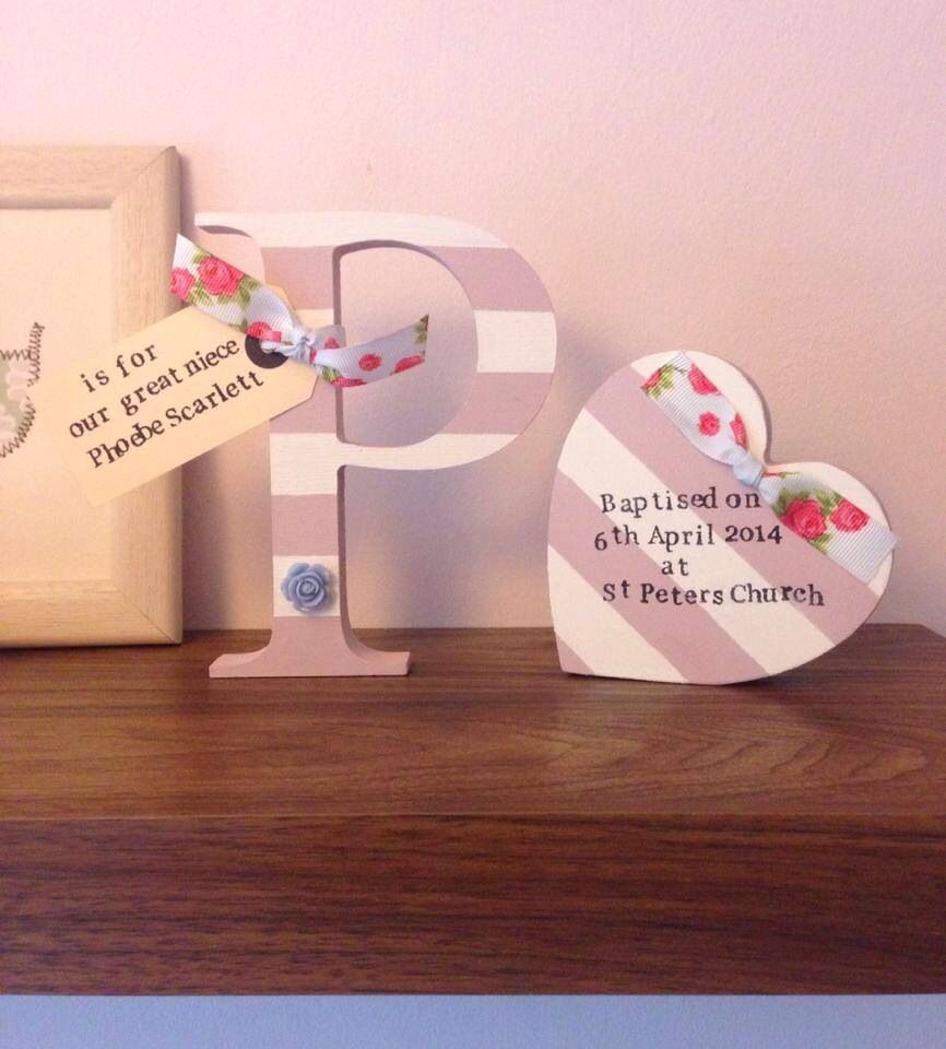 Laser Engraved Small Hanging Love Heart Christening personalised gift