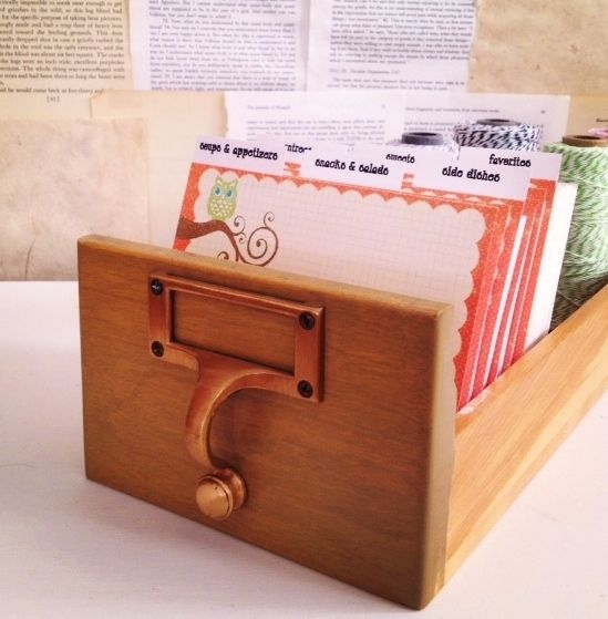 Cut the Cake Designs — Library Card Catalog Recipe Box Set Owl on a Branch