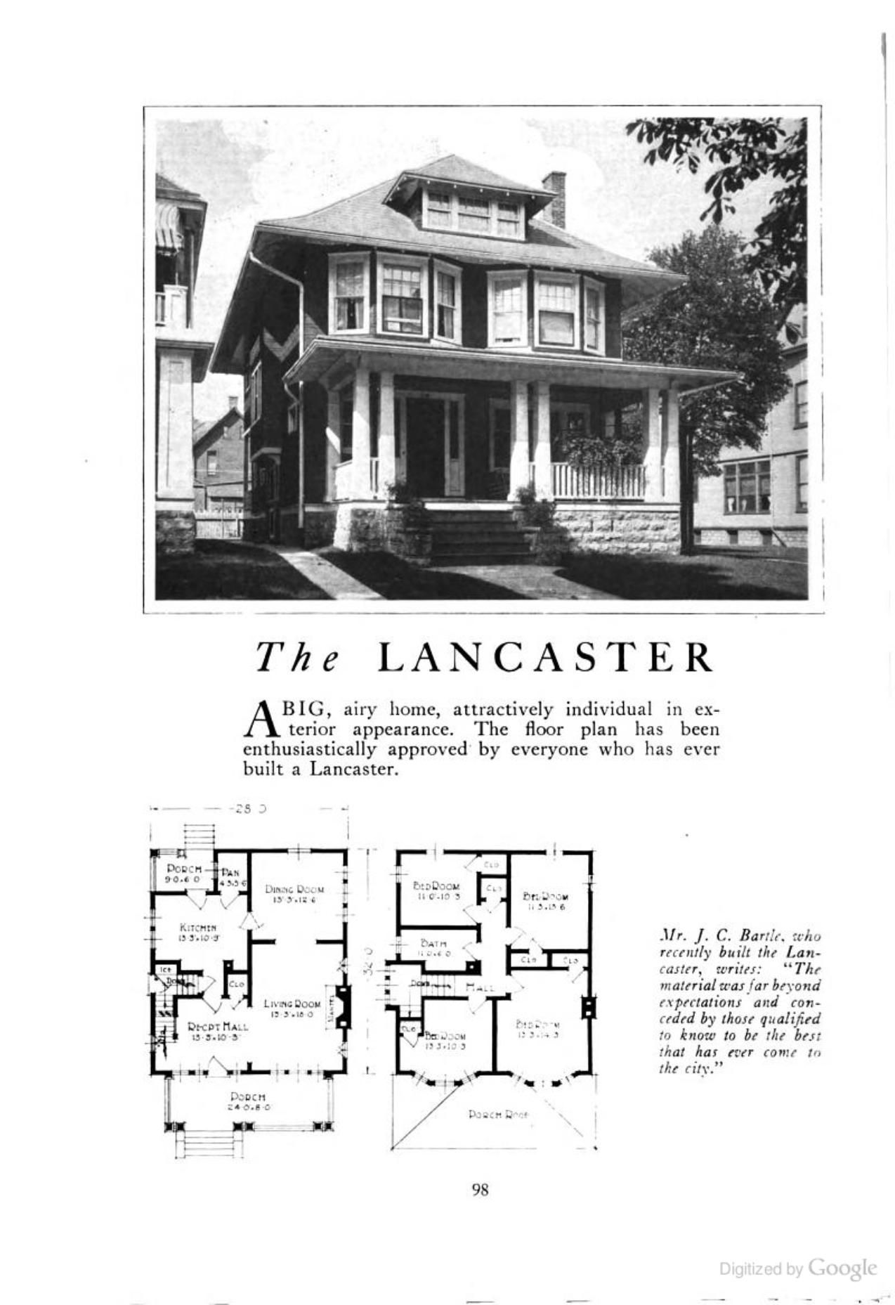 The Lancaster An American Foursquare Kit House House Plan Homes Of Character Lewis Manufact Four Square Homes Vintage House Plans Craftsman House Plans