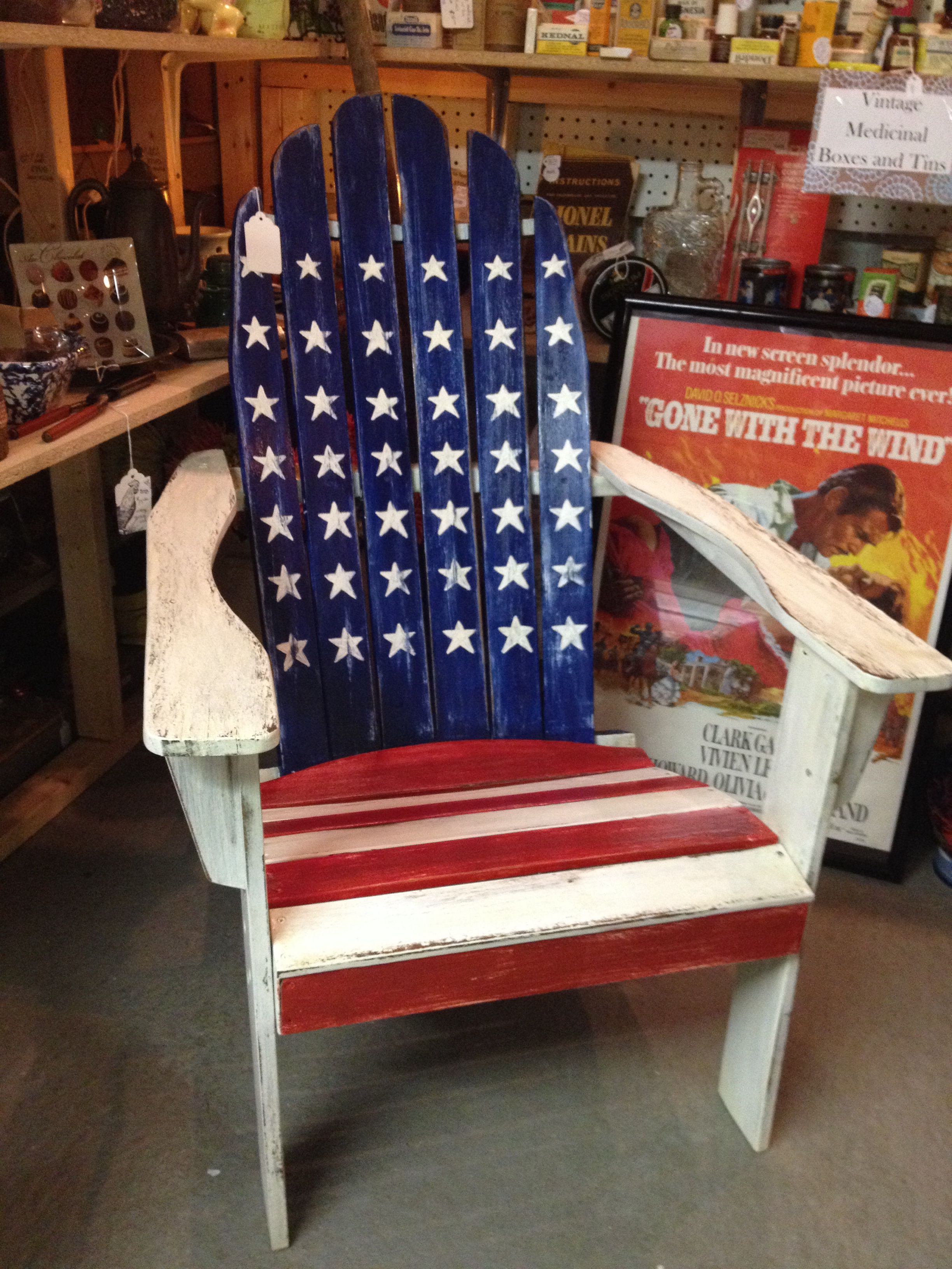 American Flag Chair Chaise Lounge Indoor Adirondack Back Of The Barn