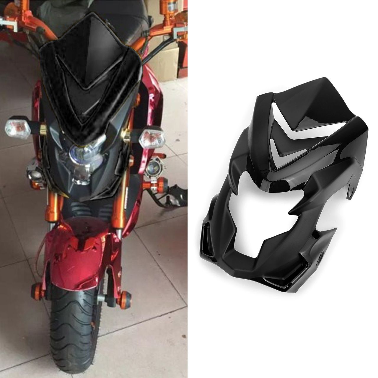 Abs Windshield Headlight Cover Fairing For Honda Msx125sf 16 17 Msx125 13 16 Black Headlight Covers Honda Windshield