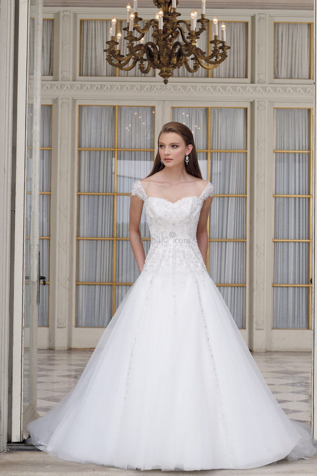 Fairytale aline wedding gowns queen anneus sleeves forever