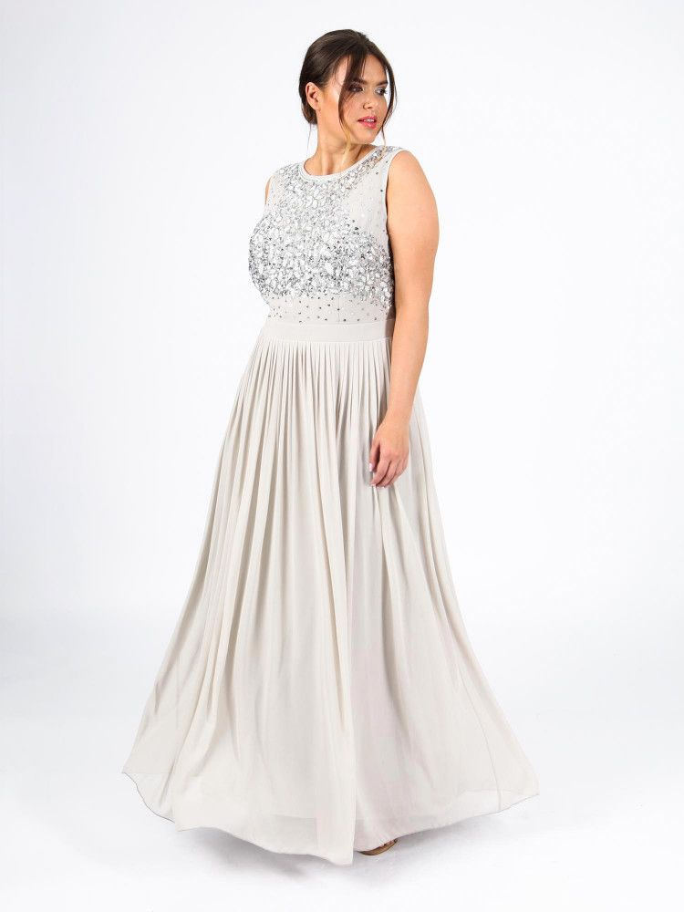 e68a1166f3 Lovedrobe Luxe Grey Sleeveless Embellished Maxi Dress Grey | Lovedrobe
