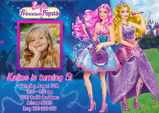 Barbie in Princess Power Birthday Invitation 5x7 or 4x6 Inches ...