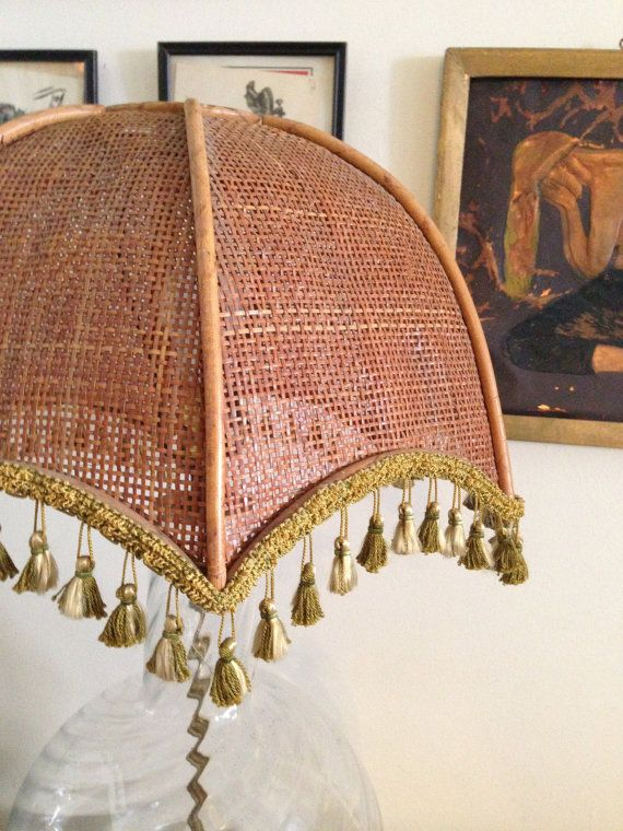 Vintage bamboo wicker lamp shade large with tassels by chezoona vintage bamboo wicker lamp shade large with tassels by chezoona 8500 aloadofball Images
