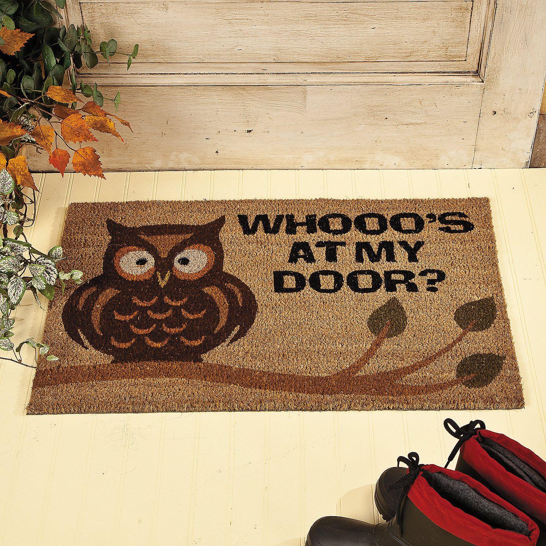 Owl Welcome Mat Terrysvillage