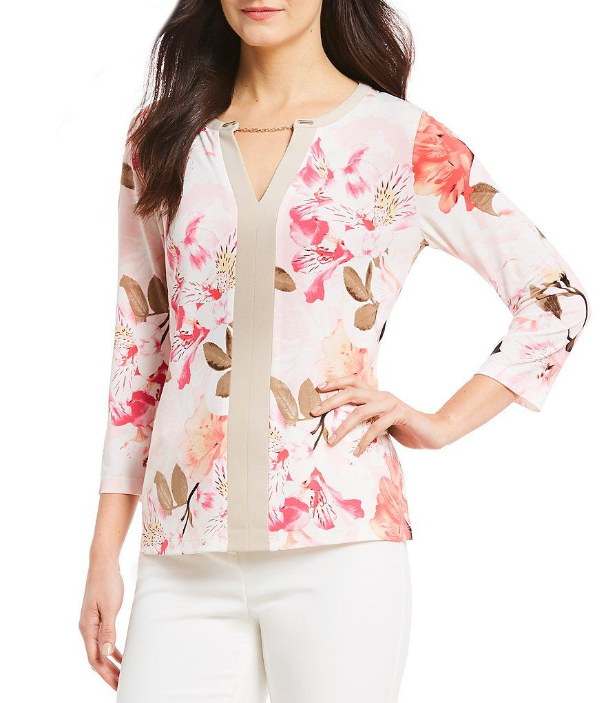 like the effect, little chain, strip up Floral tops