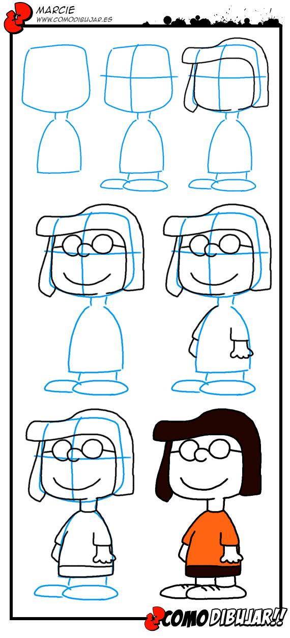 Como dibujar a Marcie. Dibujos de Peanuts.Como dibujar. | arte ...