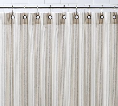 The New Shower Curtain Vintage Ticking Stripe From Pottery Barn