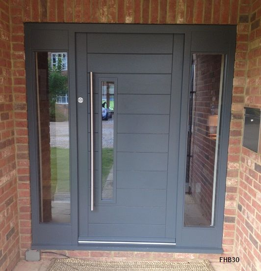 Modern Gray Exterior With Steel Beams: Contemporary Grey Door And Frame