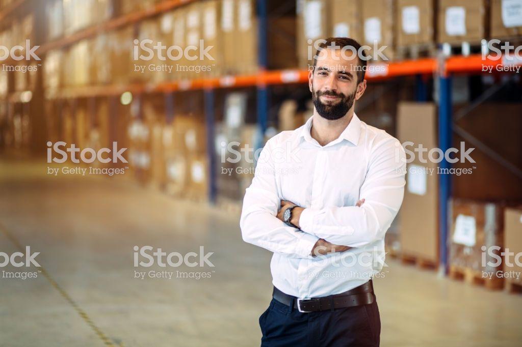 Logistics manager warehouse portrait logistics