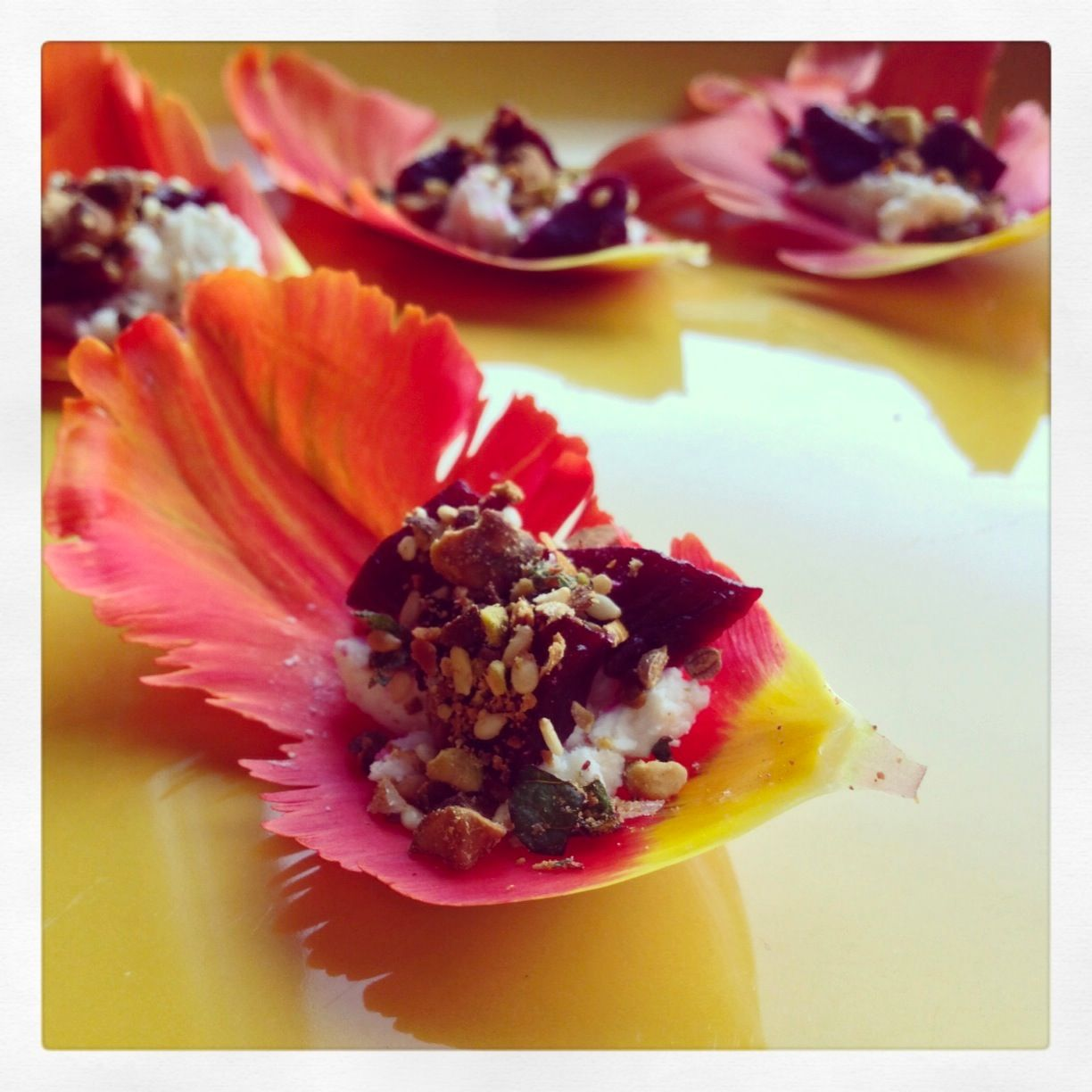 Tulip Canape With Beetroot Cheese Dukkah Edible Tulips Available From Greensofdevon Com Edible Flowers Recipes Edible Flowers Flower Food