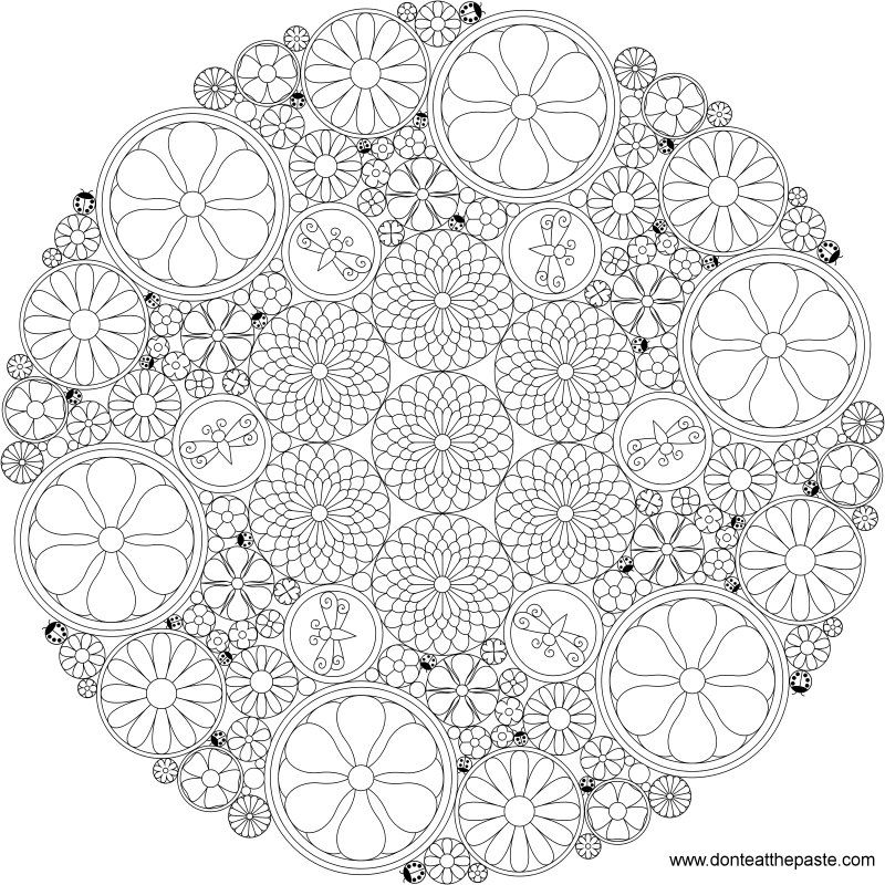 Difficult Level Mandala Coloring Pages Really intricate flower