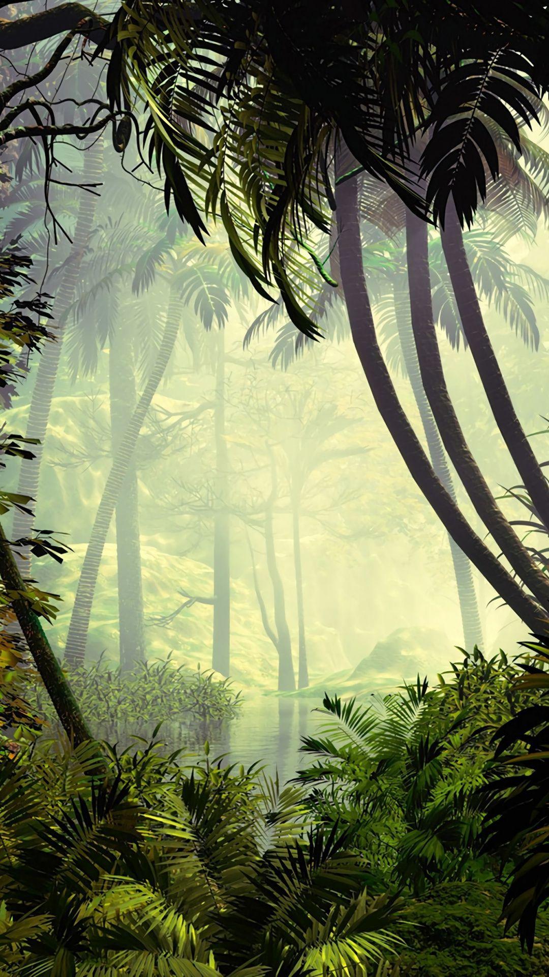 Palm Trees Jungle Dense Forest Artwork 1080x1920 Wallpaper Jungle Wallpaper Forest Wallpaper Nature Wallpaper