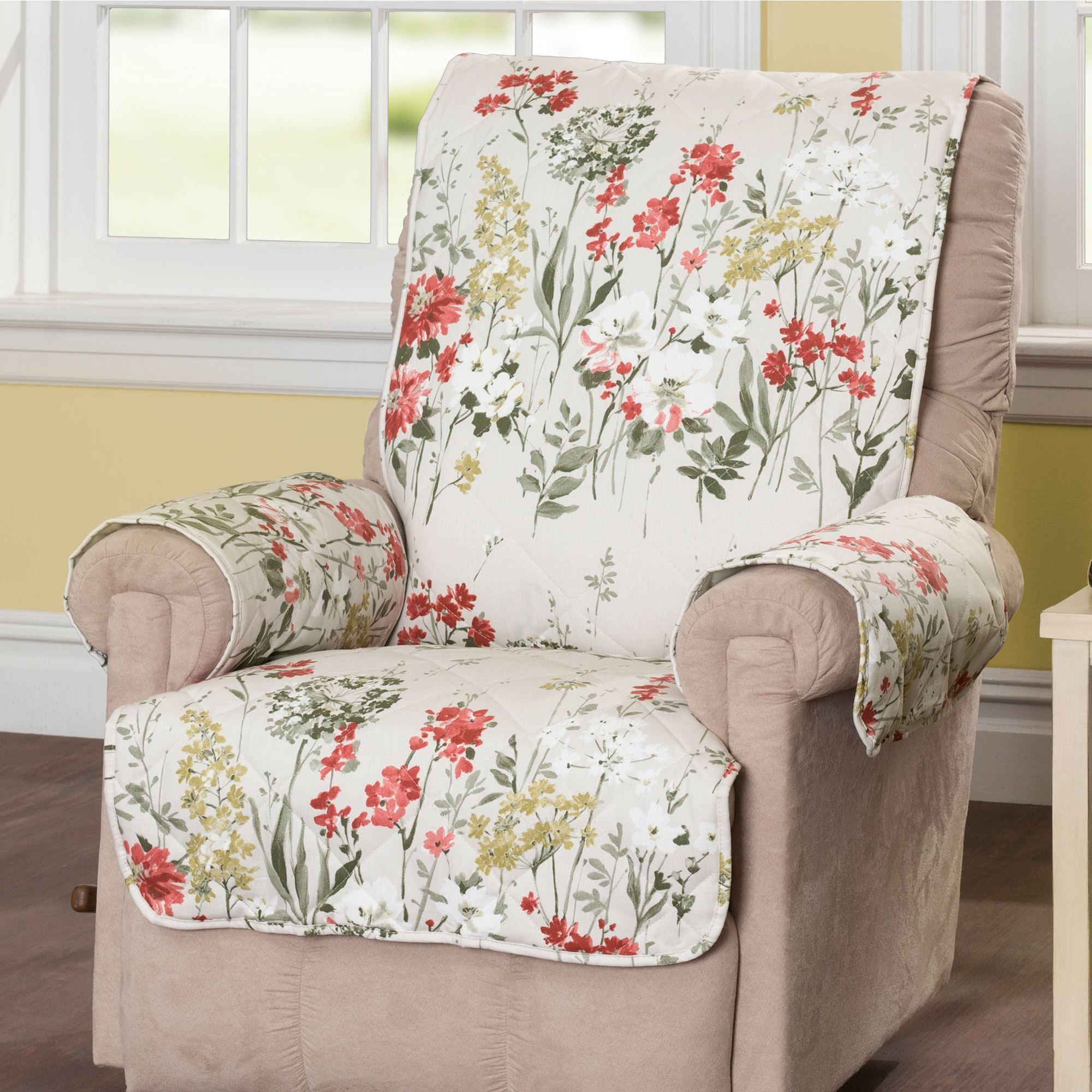 Floral Meadow Furniture Protector Off White Recliner/Wing