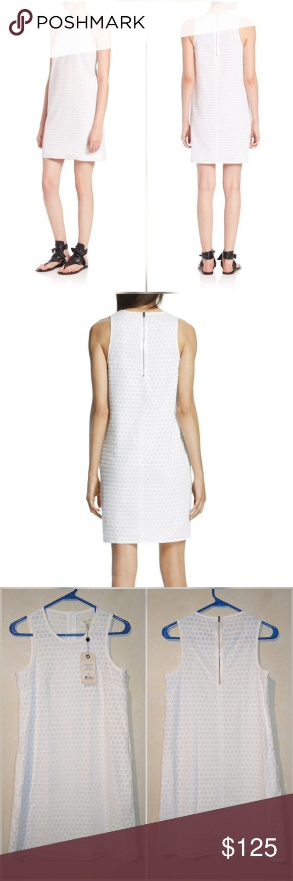 "Rag & Bone Evie Honeycomb Dress in White New with tags. Perfect condition. No trades. Lined. Zip closure. Hidden size pockets. Approximate measurements Chest flat across 16"" Length 33.75"" rag & bone Dresses"