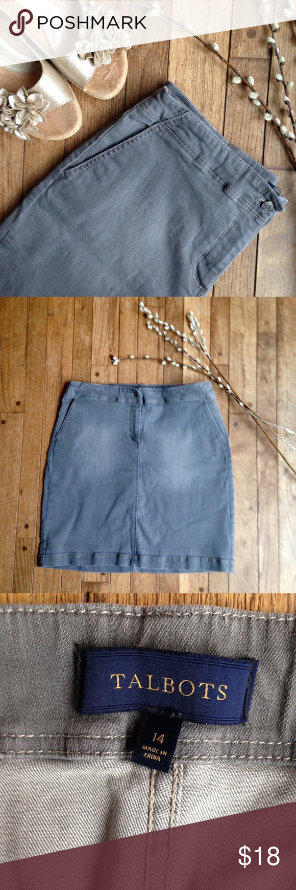 """Talbots gray denim skirt EUC. W-34. L-20"""". Gray denim. 99% cotton 1% spandex. Button and zip in front. Waist stretches slightly.  Two pockets in back. Talbots Skirts Midi"""