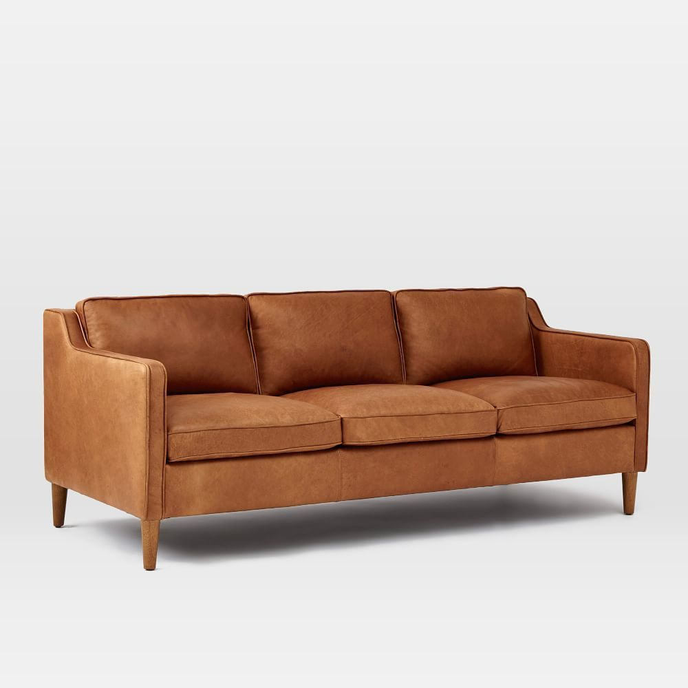 Soft Tan Hamilton Leather Sofa Inspired By 1950s