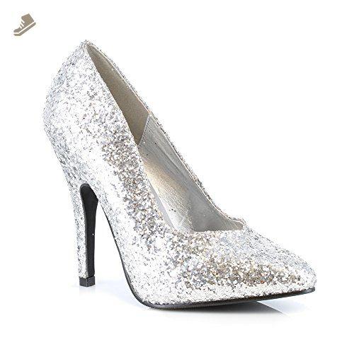 51688bbf704d ELLIE 511 GLITTER Womens Silver Glitter Pumps Shoes