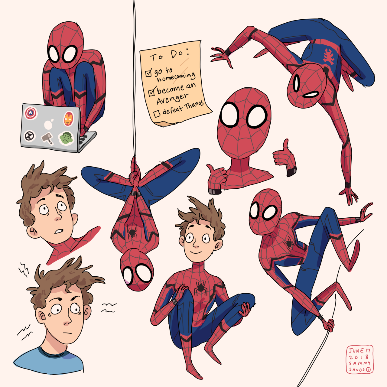 """hamotzi: """"a bunch of spiderman drawings for my dad for father's day"""