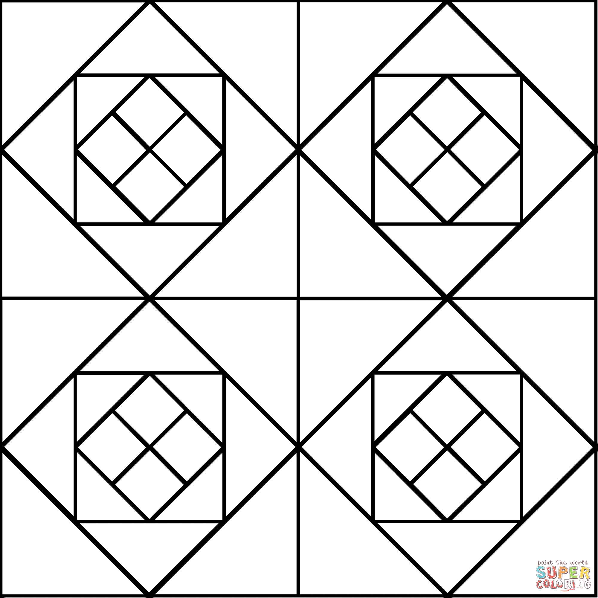 Tessellation with Squares And Triangles coloring page