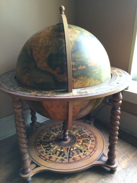 Antique Globe In 16th Century Style With Decorative Wood And Hand Painting.  Http:/