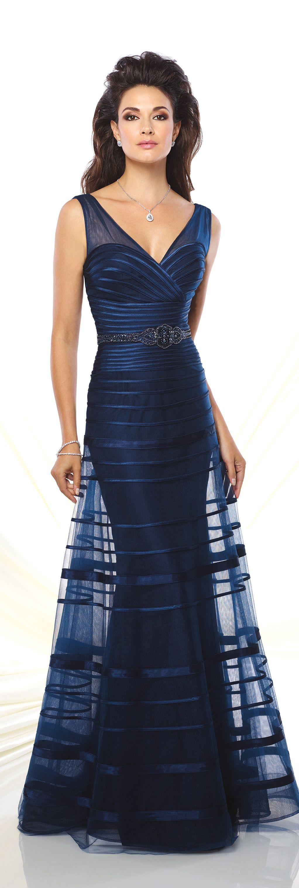 sleeveless tulle & satin a-line gown - montagemon cheri