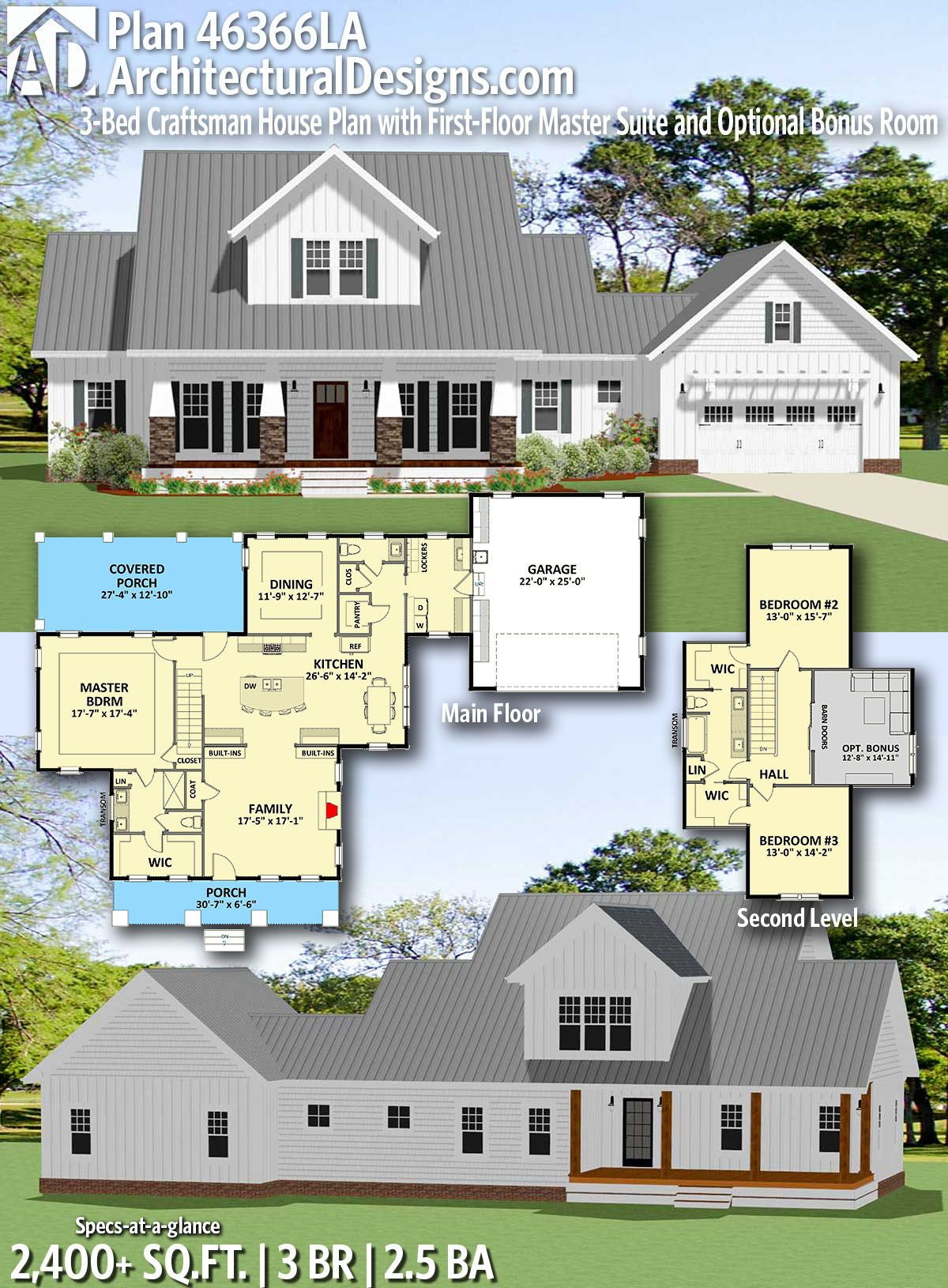 Plan 46366la 3 Bed Craftsman House Plan With First Floor Master Suite And Optional Bonus Room Farmhouse Plans Dream House Plans House Plans