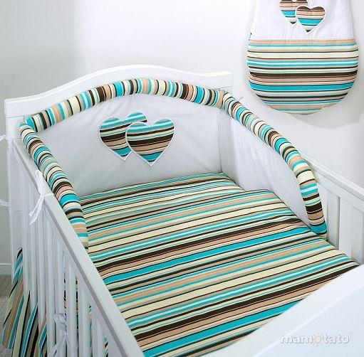 Mamo Tato Posciel 3 El Serduszka W Paseczkach Brazowych Do Lozeczka 60x120cm Mamo Tato Posciel Dziecieca Dla Niemowl Cot Bed Quilt Baby Bedding Sets Baby Bed