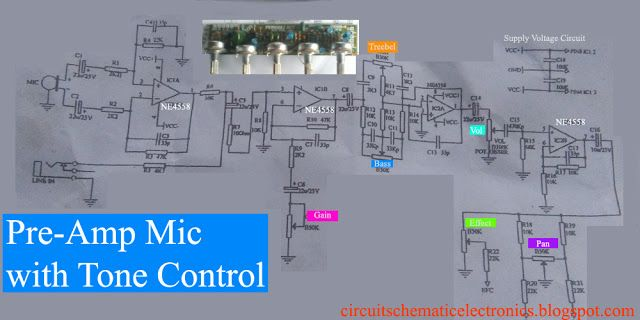 C828 Tone Control With Preamp Mic Circuit