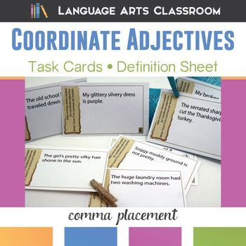Coordinate Adjectives Task Cards And Worksheet Coordinate
