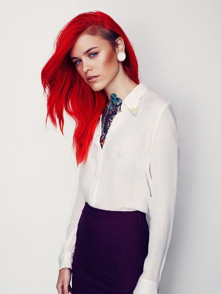 bright red undercut hair
