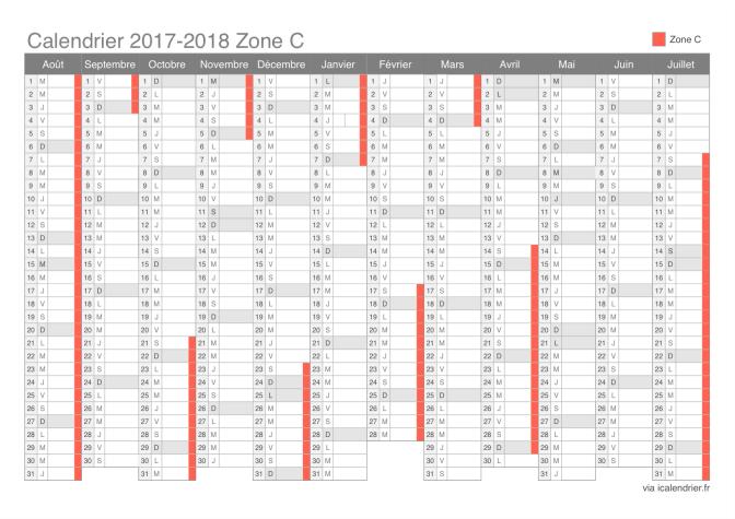 Calendrier 2018 Scolaire 2021 Zone A Calendrier des vacances scolaires 2017 2018 de la zone C