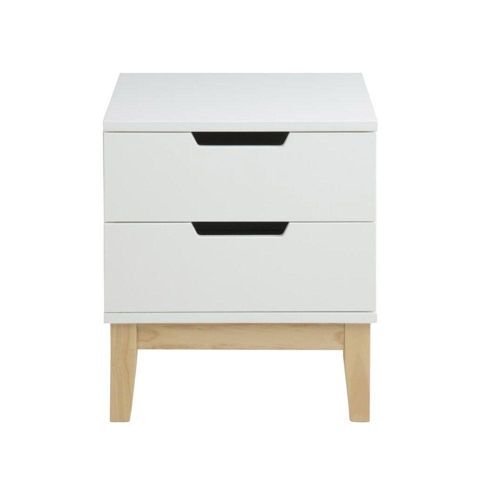 Nachttisch Galten (45x40, 2 Schubladen, Weiß). SchubladenSchlafzimmer LackierenWeiss