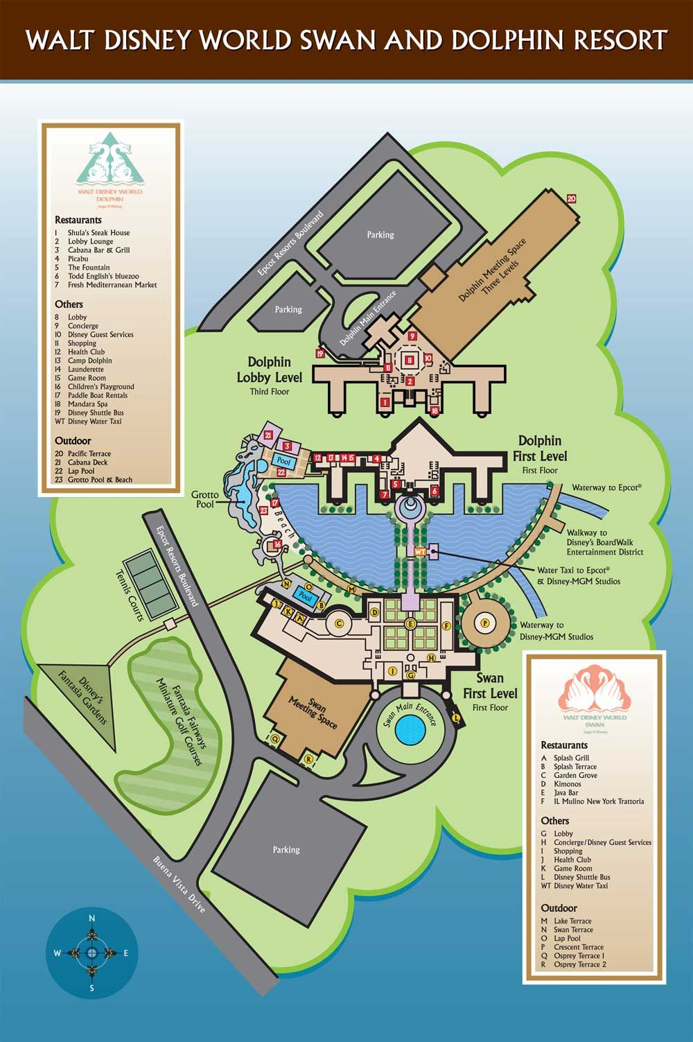 Walt Disney World Swan and Dolphin Hotel Map in 2019 ...