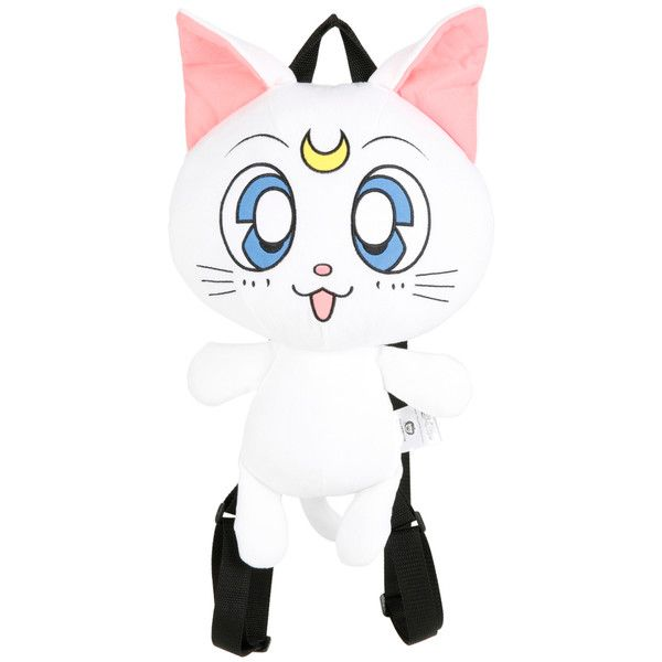 Hot Topic Sailor Moon Artemis Plush Backpack ($19) ❤ liked on Polyvore featuring bags, backpacks, multi, knapsack bag, white bag, rucksack bags, backpack bags and zipper bag