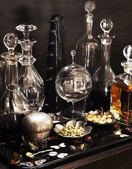 Dark | Interiors | Black | Decor | Antique and modern decanters.