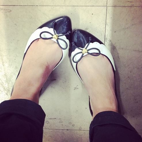 So smart. So pretty. @neeni_marie in her Mel Dreaming Bow flats
