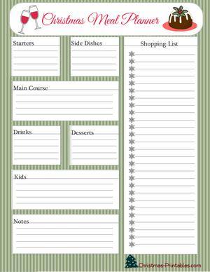 Free Printable Meal Planner For Christmas Christmas Planner Printables Christmas Planner Printables Free Planner Printables Free