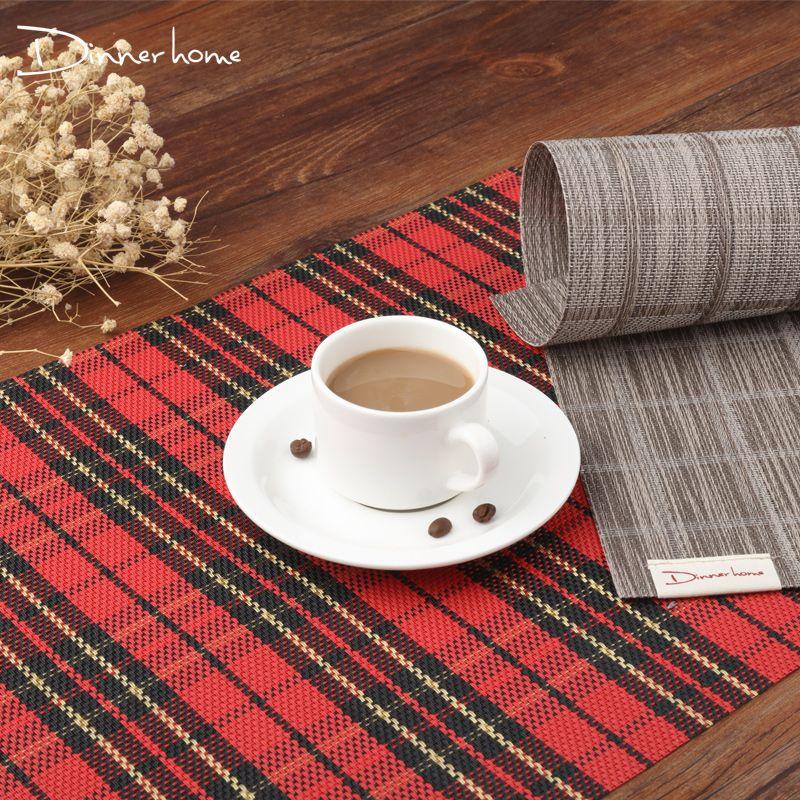 4pcs/Set Dinner Placemat Japanese Table Mat Bowl Pad Coasters Waterproof Table  Cloth Slip