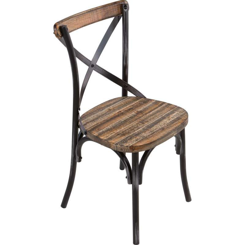 Chaise Bistrot Vintage En Bois Et Metal Patine Madie Chaise