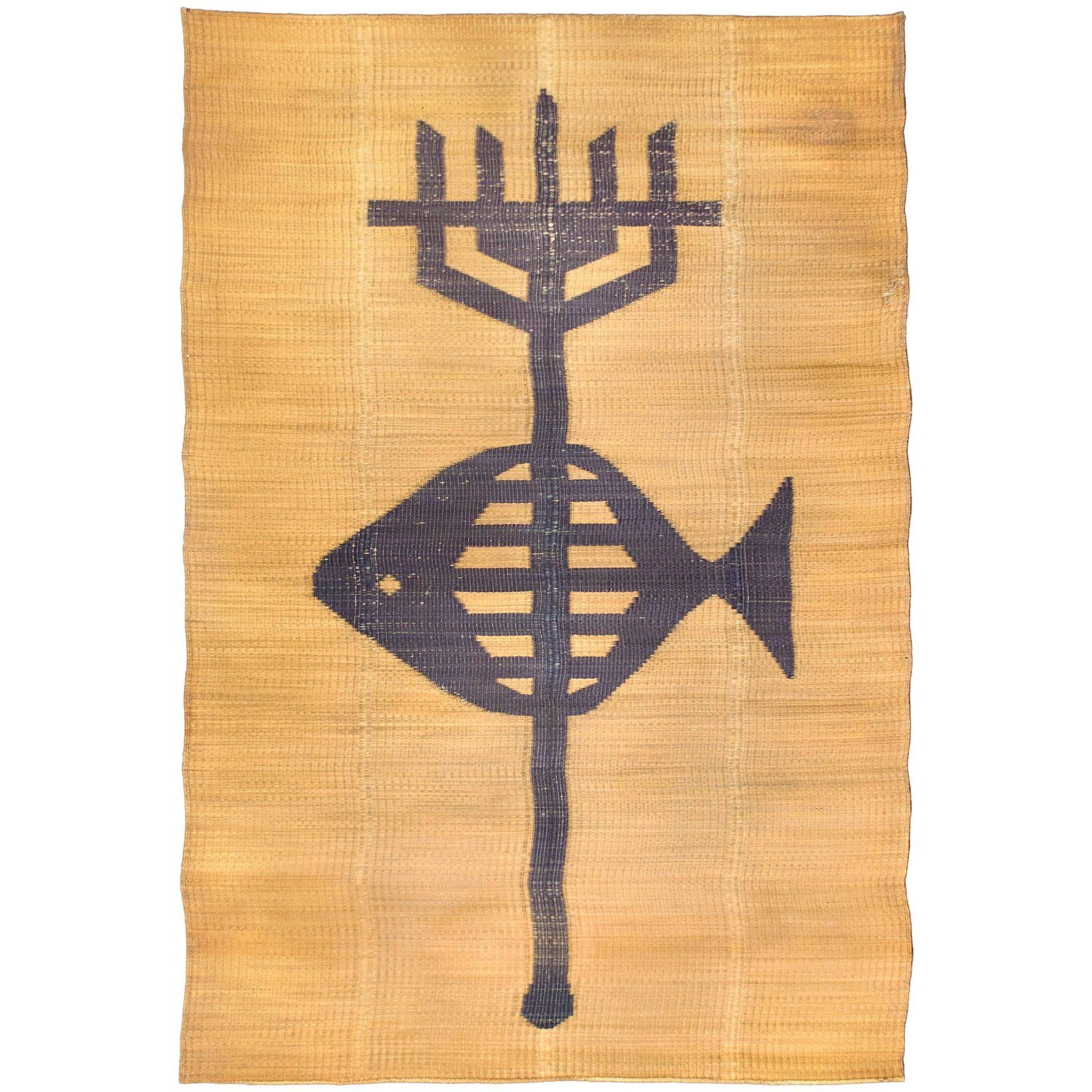 Large Straw Rug with Poseidon Trident Motif, circa 1950, France ...
