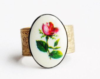 Black Flower Cameo Ring Vintage Style by apocketofposies on Etsy