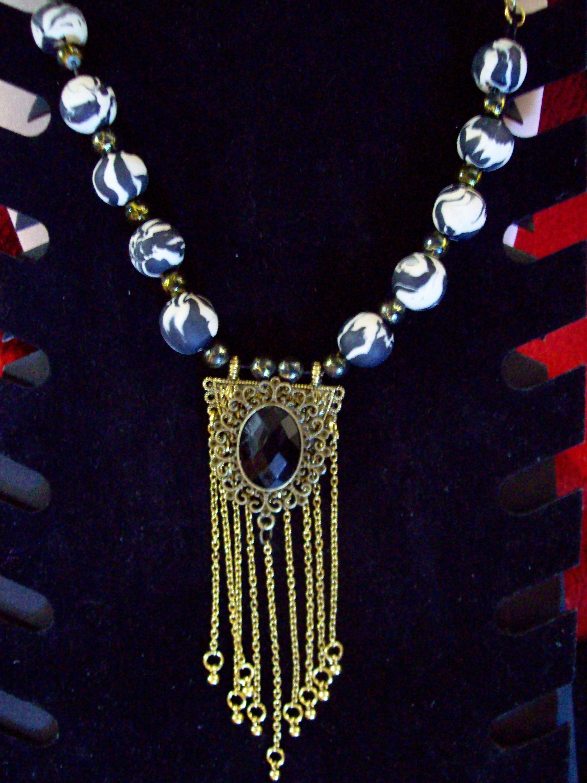 a1219deb22cd2 Gothic Black and Gold choker with Polymer clay beads | Clay and ...