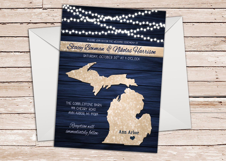 Michigan Wedding Invitation Lake