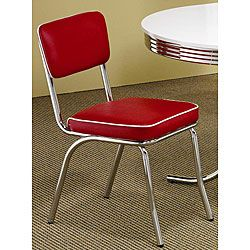 Add A Bold Splash Of Color To Your Dining Room Or Kitchen Decor With This  Rose Red Retro Dining Chair Set. Designed With A Cafe Look, These Dining  Room ...