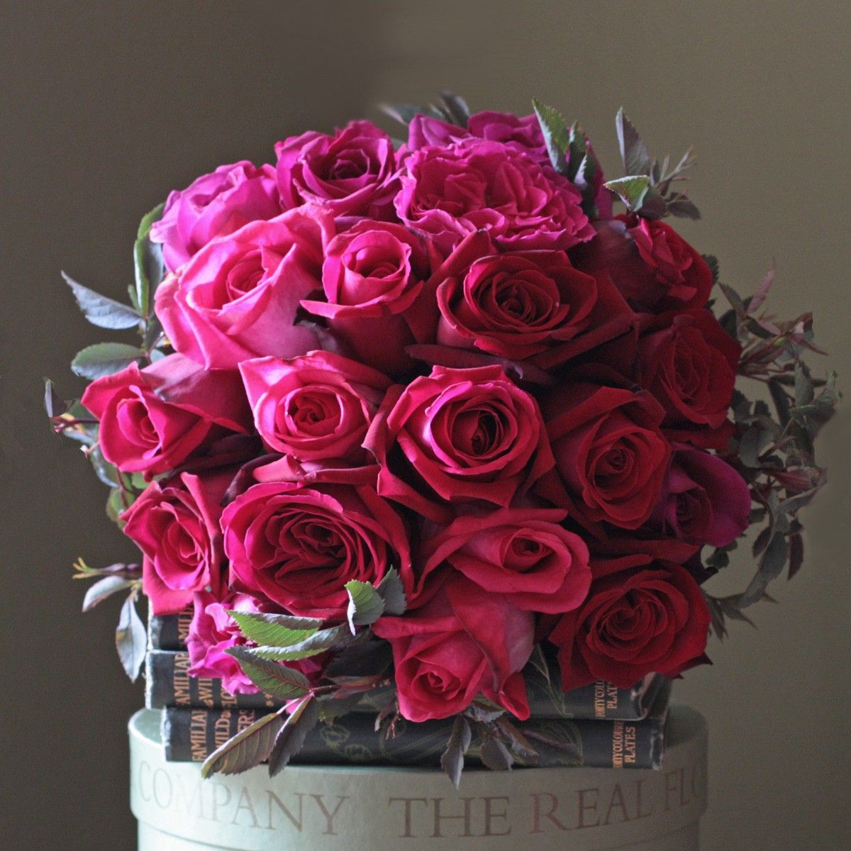 hot pink garden rose bouquets | The Real Flower Company Ruby 40 ...