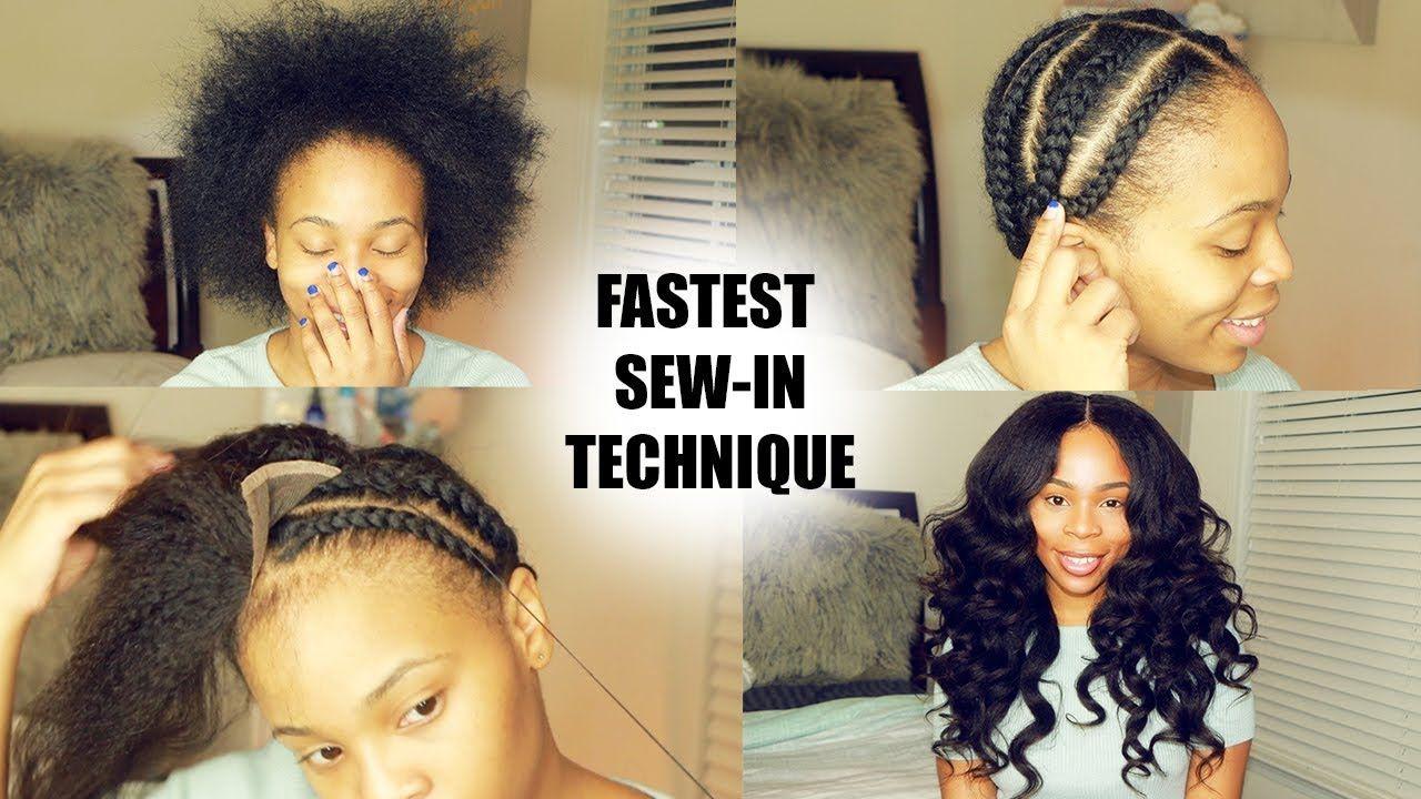 How To Do Full Sew In In 10 Minutes Beginner Friendly Video Sew In Hair Extensions Diy Hair Weave Hair Styles